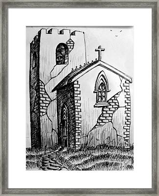 Framed Print featuring the painting Old Church by Salman Ravish