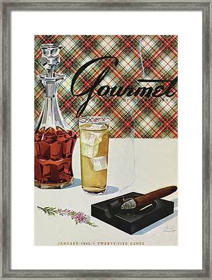 A Cigar In An Ashtray Beside A Drink And Decanter Framed Print