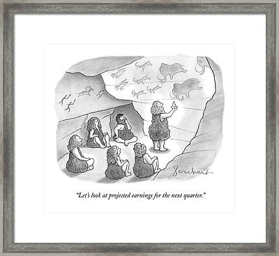 A Circle Of Cavemen Sit Around One Caveman Who Framed Print
