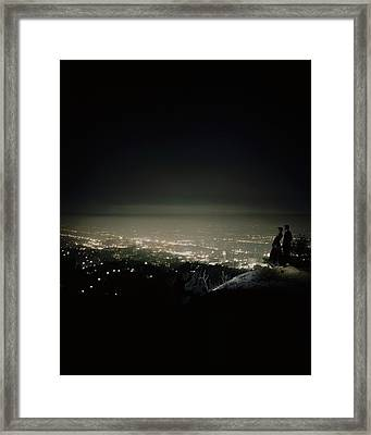 A City At Night Framed Print by Constantin Joffe