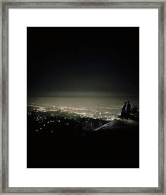 A City At Night Framed Print