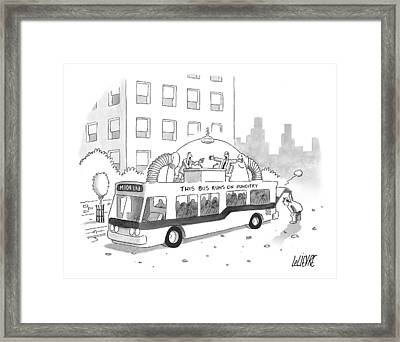 A City Bus Is Seen With A Rooftop Bubble Framed Print by Glen Le Lievre