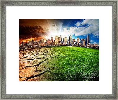 Framed Print featuring the photograph A City Effect by Boon Mee
