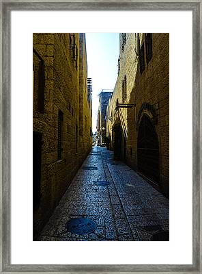 A City Street In Jerusalem Framed Print by Alan Marlowe