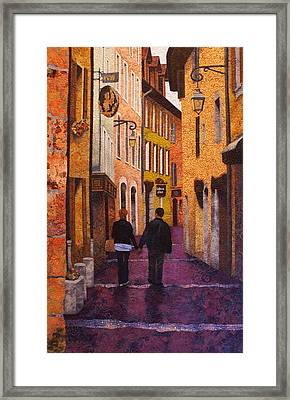 A City Walk In Spring Framed Print by Lenore Crawford