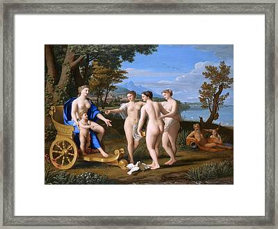 A Classical Landscape With Venus And Cupid Accompagnied By The Three Graces Framed Print