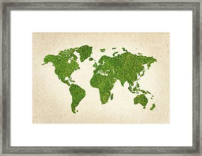 World Grass Map Framed Print by Aged Pixel