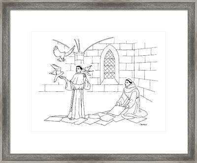 A Clergyman Handles Three Doves/pigeons Framed Print by Dan Roe