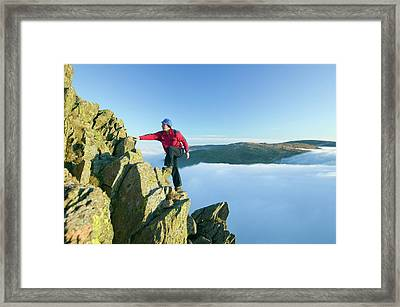 A Climber On Red Screes Framed Print