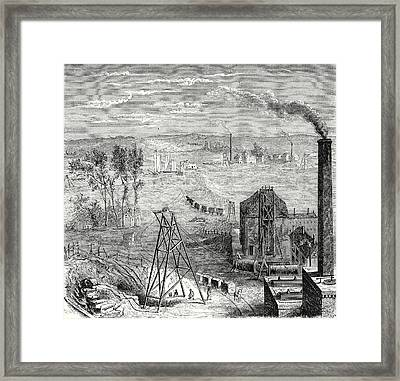 A Coal Mine In Newcastle With Wagons Drawn By Horses Framed Print