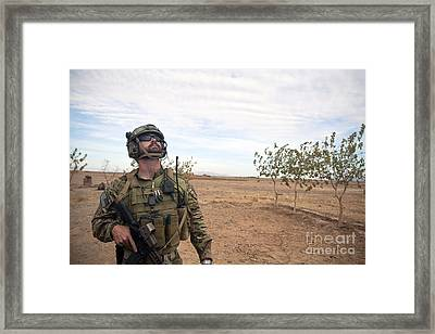 A Coalition Force Member Looks For Air Framed Print by Stocktrek Images