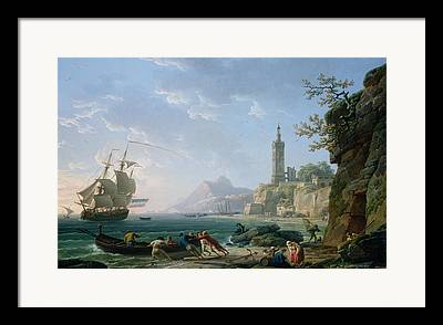 Seascape With A Boat Framed Prints