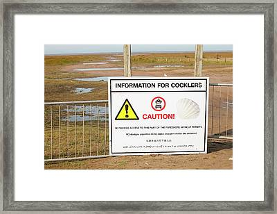 A Cockle Picking Sign Near Southport Framed Print
