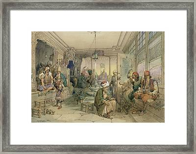 A Coffee House, Constantinople, 1854 Framed Print by Amadeo Preziosi