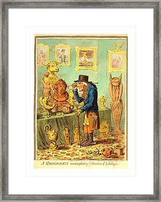 A Cognocenti Contemplating Ye Beauties Of Ye Antique Framed Print by English School