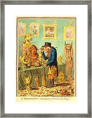 A Cognocenti Contemplating Ye Beauties Of Ye Antique Framed Print by Litz Collection