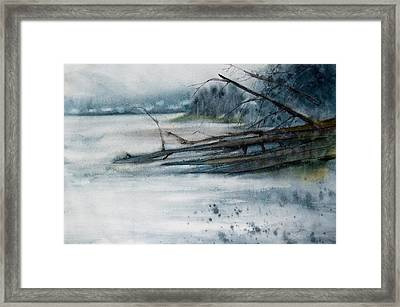 Framed Print featuring the painting A Cold And Foggy View by Jani Freimann