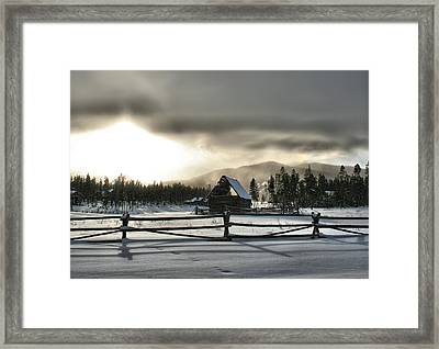 A Cold Retired Barn Framed Print by Rebecca Adams