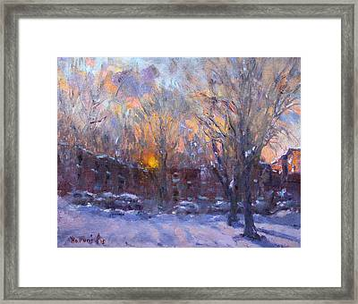 A Cold Winter Sunset  Framed Print by Ylli Haruni