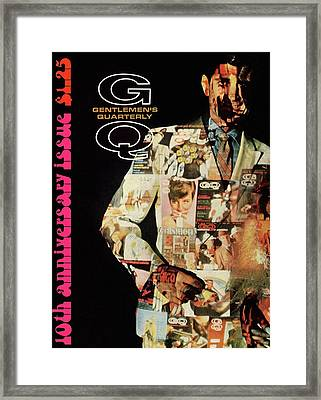 A Collage Of Gq Covers Framed Print by Leonard Nones