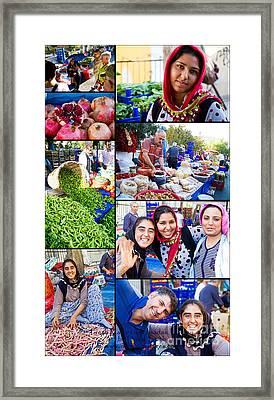 A Collage Of The Fresh Market In Kusadasi Turkey Framed Print