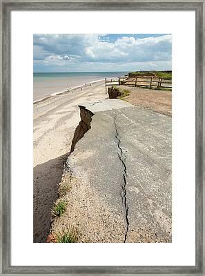 A Collapsed Coastal Road At Easington Framed Print