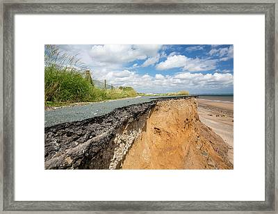 A Collapsed Coastal Road At Skipsea Framed Print
