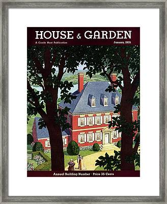 A Colonial Manor House Framed Print