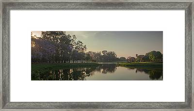 A Colorful Sunset With Trees In Bloom Framed Print