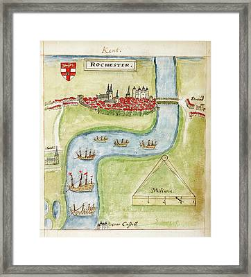 A Coloured Plan Of Rochester Framed Print by British Library