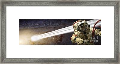 A Comet Passes By An Astronaut In Deep Framed Print by Marc Ward