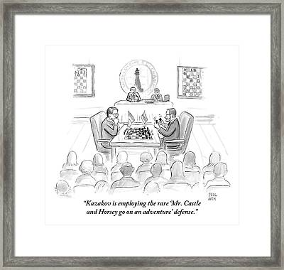 A Commentator Narrates A Match In A World Chess Framed Print