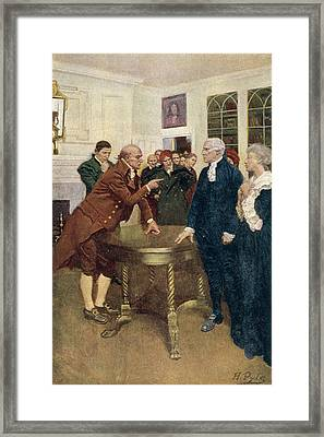 A Committee Of Patriots Delivering An Ultimatum To A Kings Councillor, Illustration From A Sign Framed Print