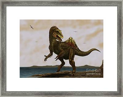 A Concavenator Corcovatus Running Framed Print by Alvaro Rozalen