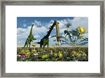 A Conceptual Dinosaur Garden Framed Print