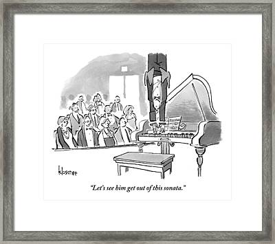 A Concert Pianist Hangs Upside Framed Print