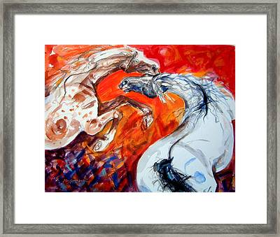 A Confrontation Framed Print by Mary Armstrong