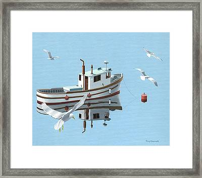 A Contemplation Of Seagulls Framed Print by Gary Giacomelli