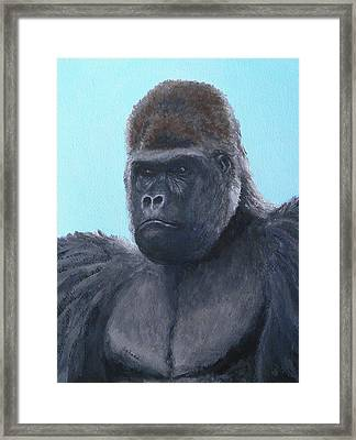Framed Print featuring the painting A Contemplative Gorilla by Margaret Saheed