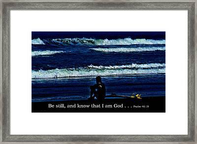a contemplative surfer  - Psalm 46 - 10 Framed Print