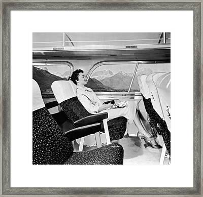 A Contented Bus Rider Framed Print by Underwood Archives