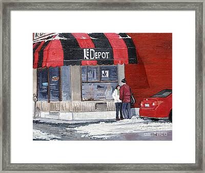 A Conversation Near Le Depot Framed Print by Reb Frost