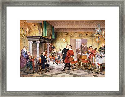 A Convivial Meeting Of The Brewers Framed Print by Louis Haghe