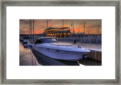 A Cool Motorboat Yacht In Sopot Marina Framed Print