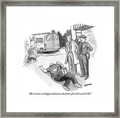 A Cop And A Detective Stand Over The Face-down Framed Print
