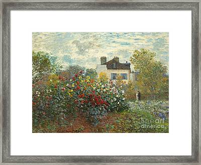 A Corner Of The Garden With Dahlias Framed Print