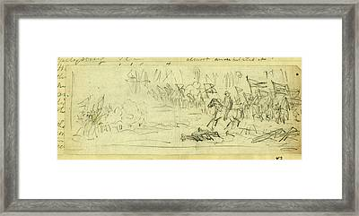 A Corps Going Into Battle, Possibly General Warrens V Corps Framed Print