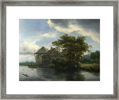 A Cottage And A Hayrick By A River Framed Print by Jacob Isaacksz van Ruisdael