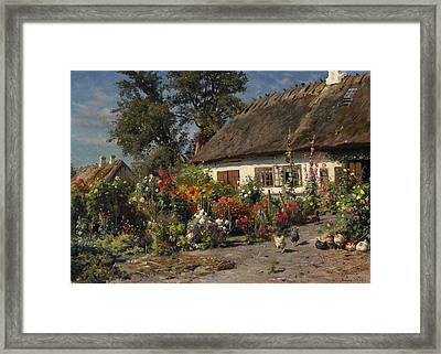 A Cottage Garden With Chickens Framed Print by Peder Mork Monsted