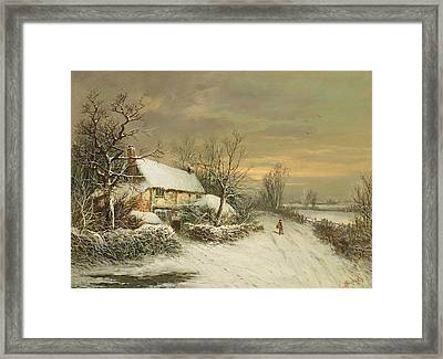 A Cottage In Winter, 19th Century Framed Print